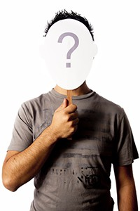 photo with a man and a questionmark mask that can be used for c